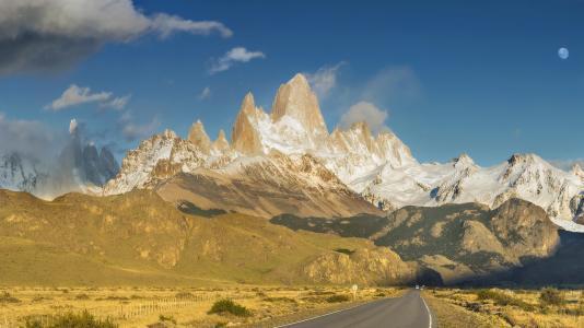 路,山,高峰,蓝天,fitzroy,巴塔哥尼亚,阿根廷,安德烈查布罗夫