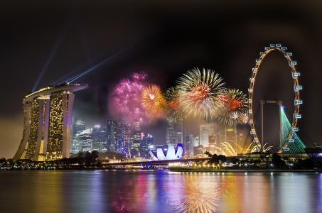 新加坡,车轮,酒店,评论,新加坡,城市,夜间