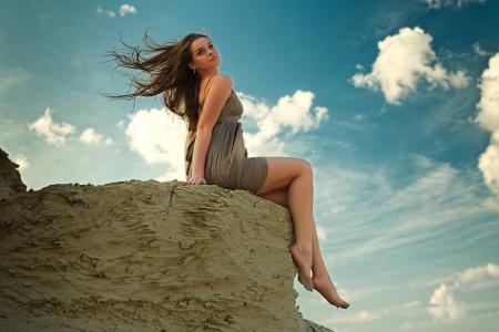 休息,女孩,坐在,天空,看