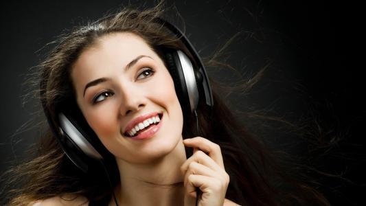 女孩,耳机,微笑,音乐,头发