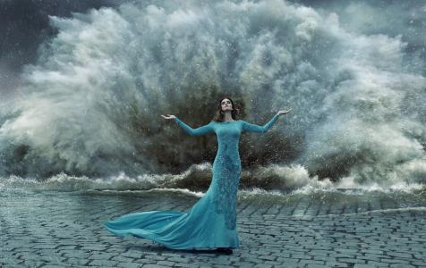 女孩,礼服,孔雀,风暴,水,滴,喷雾