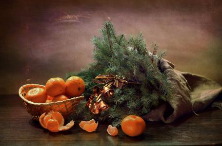 静物,袋,水果,官吏,树枝,云杉,毛皮树,钟声
