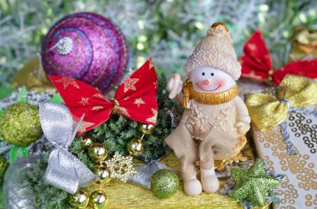 假日,新年,圣诞节,装饰,玩具,针,森