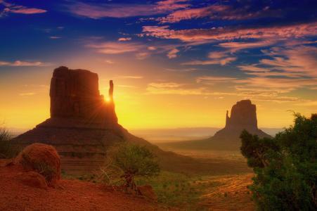 纪念碑谷,犹他州,黎明,光线,云,沙漠