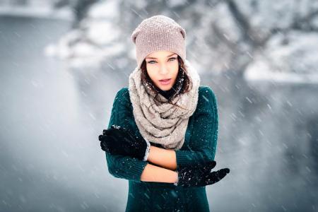 安吉丽娜·佩特洛娃,安吉丽娜·佩特洛娃,摆姿势,冬天,时装模特,美女