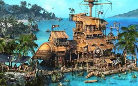 海,海盗,小船,渲染,海盗小酒馆,船,加勒比海