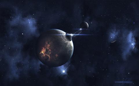 闪光,火花,星球