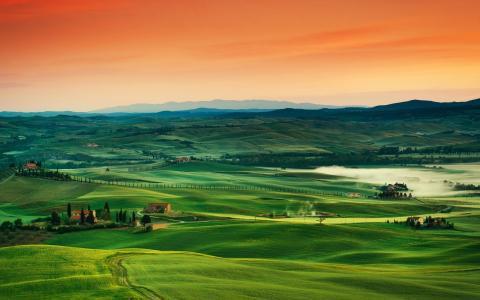托斯卡纳,意大利,orenge,绿色,路径,天空