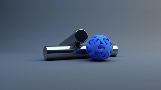 3D,橡胶,金属,管,球,星星,体积,美女,背景