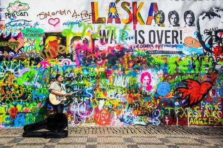墙壁,涂鸦,颜色,多彩多姿,约翰·列侬,布拉格,男子,吉他,音乐墙