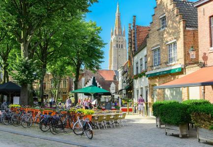 比利时,布鲁日,建筑物,树木,咖啡馆,美容