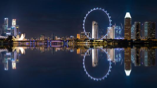 夜晚的城市,夜晚的城市灯光,建筑物,建筑物