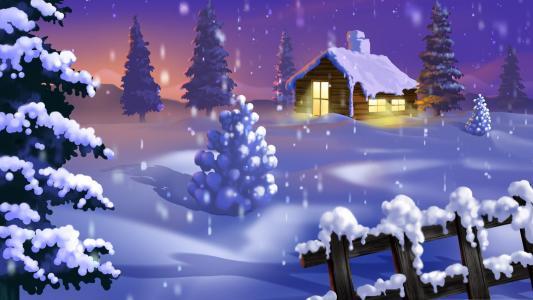 房子,树,冬天,新的一年,雪