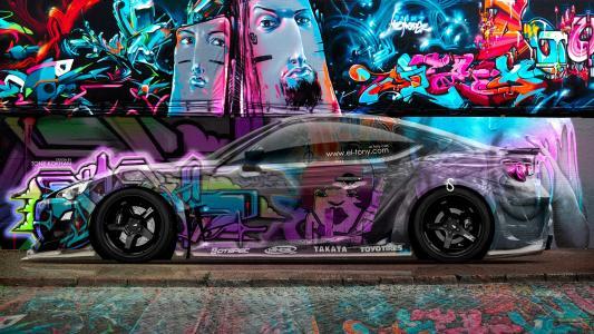 托尼科汉,丰田,GT86,侧,水晶,涂鸦,汽车,Multicolors,JDM,斯巴鲁,BRZ,接穗,FR-S,埃尔托尼汽车,Photoshop,设计,艺术,
