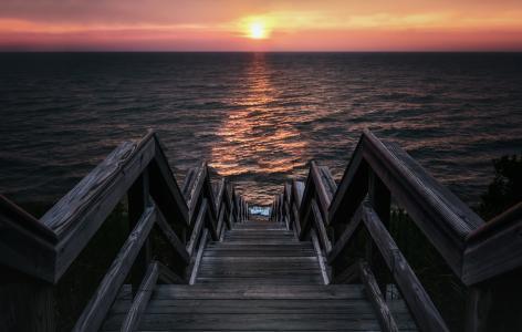 照片,楼梯,海,美丽