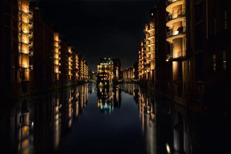 晚上,德国,汉堡,城市,景观