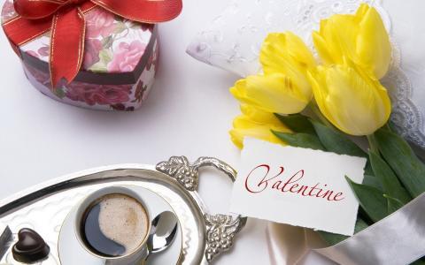 咖啡,郁金香,一天情人节,情人节