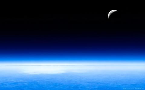 蓝色的地平线,卫星,水
