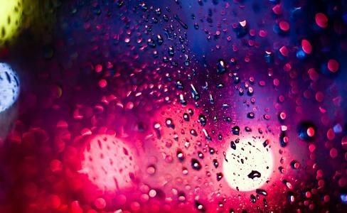 眩光,景,夜,城市,雨,光