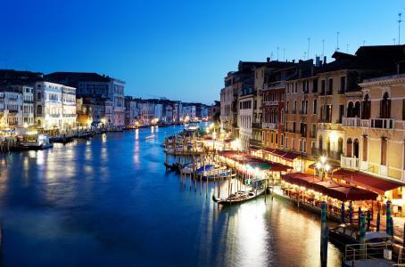 大运河,大运河,威尼斯,威尼斯,意大利,晚上,意大利