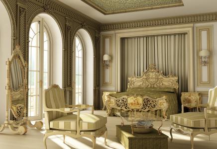 豪华,设计,风格,床,卧室,室内