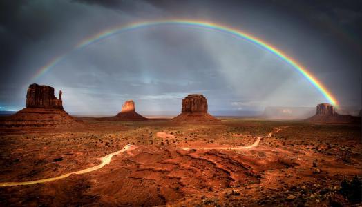 天空,彩虹,山谷,天空别致,美女,岩石