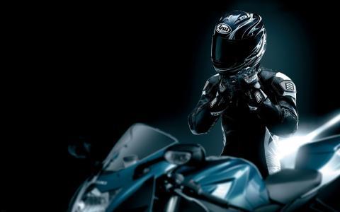 黑色,皮革,摩托车,摩托车手,头盔