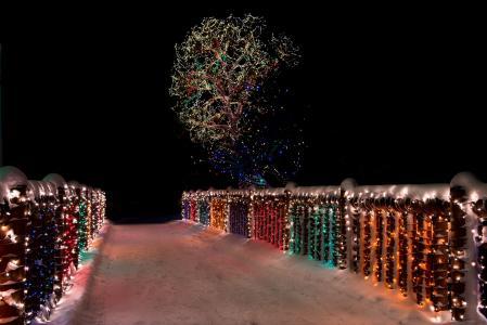 照片,冬天,桥,灯,假期