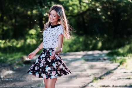 女孩,金发女郎,构成,衣服,夏天,微笑,心情,积极