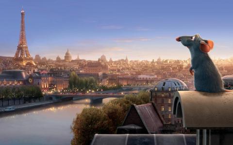 在巴黎的背景下,料理鼠王卡通