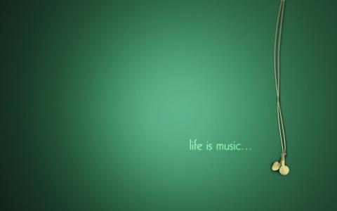 音乐,美丽,绿色,耳机,极简主义