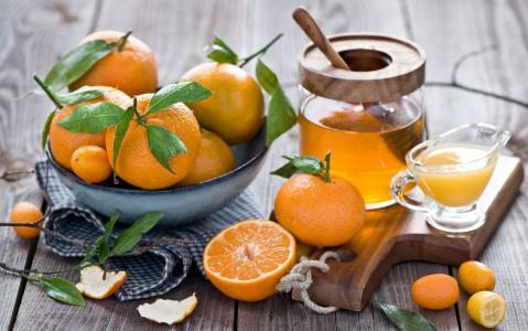 静物与橘子,董事会,餐巾,蜂蜜