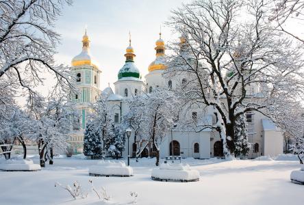 基辅,大教堂,冬天