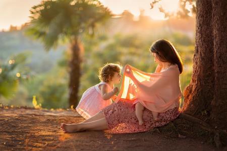 MadinaLuck,人,母亲,母亲,女人,孩子,婴儿,性质,树,树干