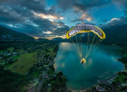 极端,体育,超级照片,飞行,自然,湖,山,美丽
