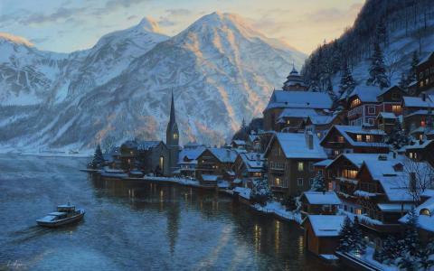 山,叶夫根尼lushpin,lushpin,绘画,湖,奥地利,阿尔卑斯山,村,镇,hallstatt