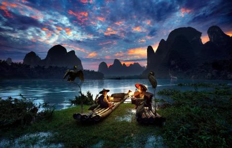 亚洲,老人,鸟类,光,山,日出