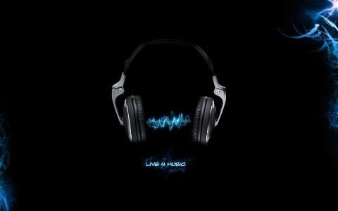 耳机,黑色背景,音乐