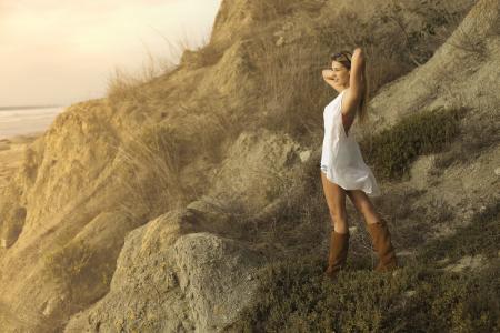 模型,构成,靴子,海岸,心情,夏天