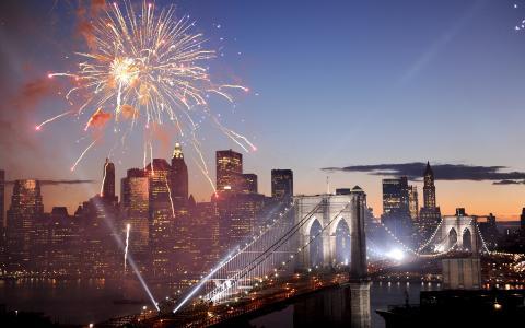 美国,美国,烟花,纽约,敬礼,烟花,布鲁克林大桥