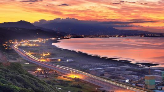 山,海,海边,台湾,自然,城市