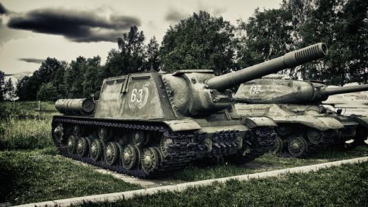 ISU-152,圣约翰草,沉重,苏联,自走,火炮,安装伟大的,爱国的,战争,公园,博物馆,天气,天空,云