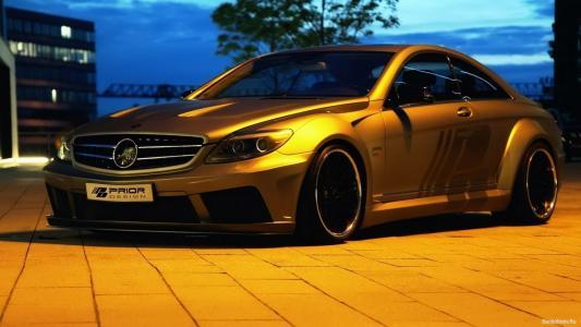 奔驰,黄色,晚上,停车