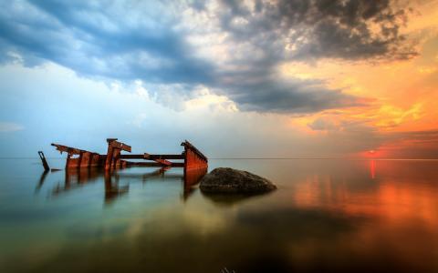 海,光滑,天空,黎明,教堂,旧码头