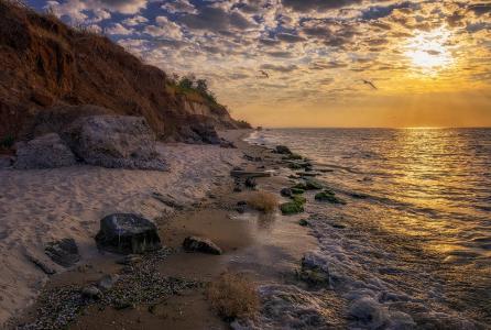 海岸,沙滩,岩石,海,波浪,早上,基本知识,天蝎座
