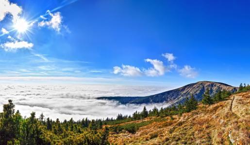 巨山国家公园,捷克共和国,山,森林,云,太阳