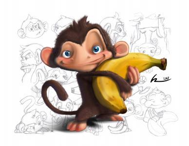 宝贝壁纸,图纸,香蕉,白色背景,猴子