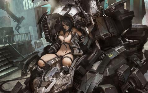 机器人,金属,女孩,机器,裸体,艺术,电线