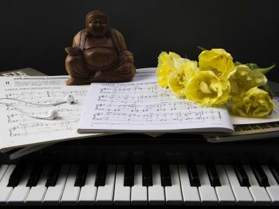 雕像,鲜花,笔记,键,组成,静物