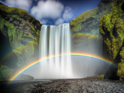 大自然,瀑布,冰岛,彩虹,岩石,山,美丽,彩虹